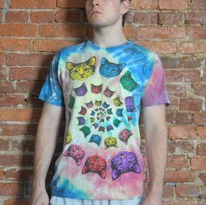 Tie Dye Rainbow Cat Spiral Mulicolored Shirt 🌈